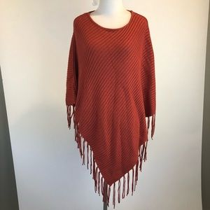 Chico's Ribbed Fringed Poncho Sweater